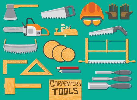 Tools for sawing and carpentry. Vector illustration