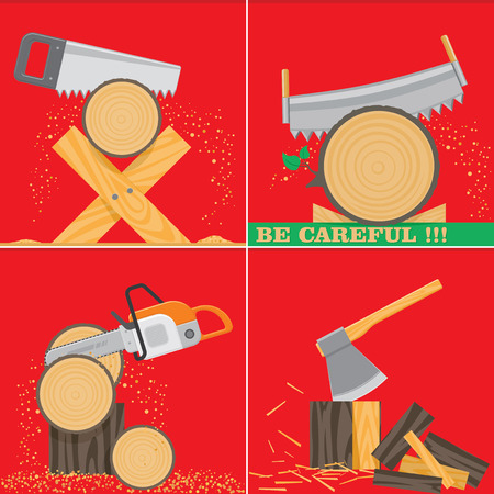 Sawing and chopping wood. Carpentry tools in action. Vector illustration