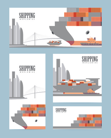 Container ship. Cargo and shipping worldwide industry design template. Vector illustration