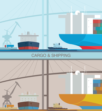 Sea port. Cargo and shipping worldwide concept. Vector illustration