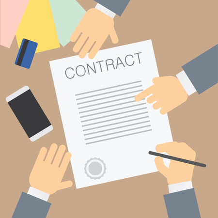 signing: Contract signing. Vector illustration Illustration