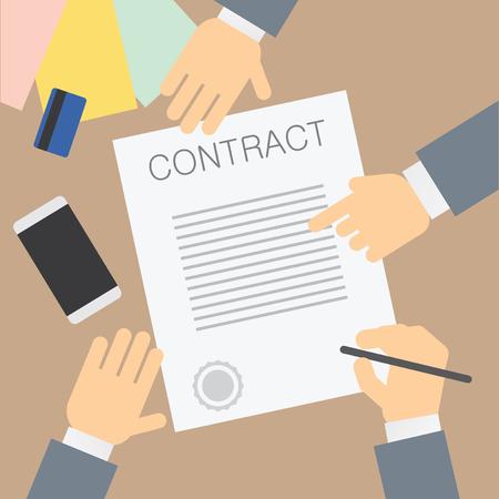 Contract signing. Vector illustration Illusztráció
