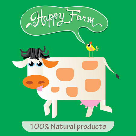 Funny cow. Happy farm concept. Vector illustration
