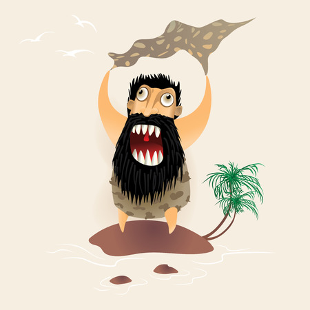robinson: Bearded Man waves his hands while standing on a tiny island. Men needs to be saved from the ocean reef. Funny cartoon character. Vector illustration