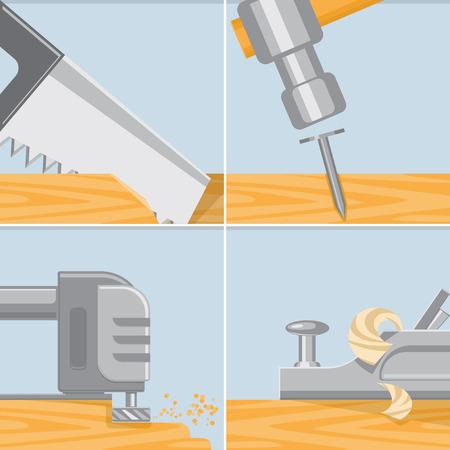 herramientas de carpinteria: Tratamiento de la madera. Herramientas de carpinter�a. ilustraci�n vectorial