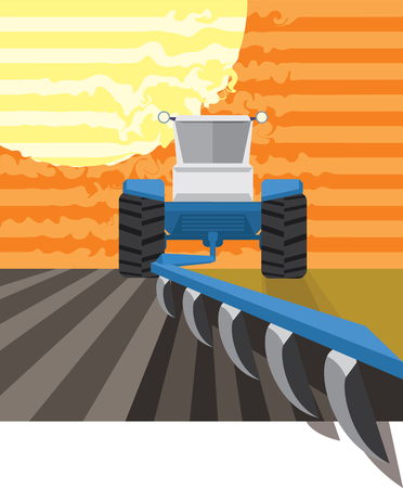 plowing: Tractor plowing in the field. Vector illustration Illustration