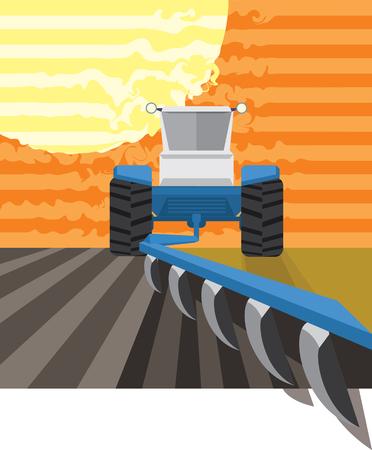 Tractor plowing in the field. Vector illustration Illusztráció