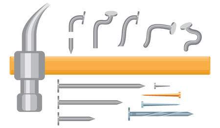 Hammer and Iron nails different types and size isolated on white. Vector illustration