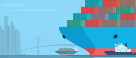 Container ship in the harbour. Industrial vessels. Vector illustration Illusztráció
