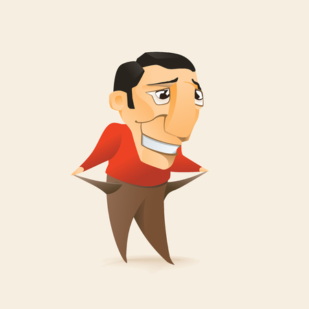 problematic: Man showing empty pockets. Vector illustration