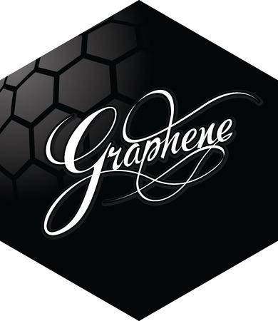 Graphene hexagonal emblem design. New carbon materials science. Vector illustration