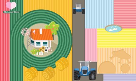 Farmland. Farming business. Farmer`s house and tractors. Agriculture industry infographic design. Illusztráció