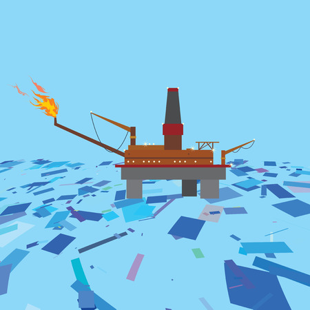 Oil platform in the Arctic ocean. Petroleum industry concept.
