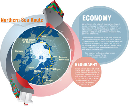 Shipping worldwide. Northern Sea Route from East to West infographic.