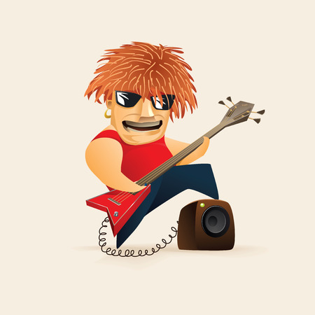 Red haired guy playing on electric guitar. Hard Rock musician.