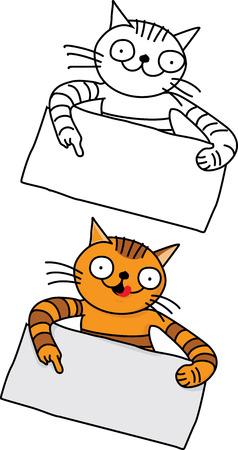 Funny cat hold promotion banner Illusztráció
