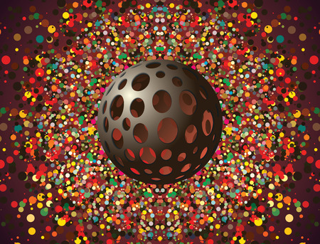3d futuristic spheroid object with particle ambient effect background