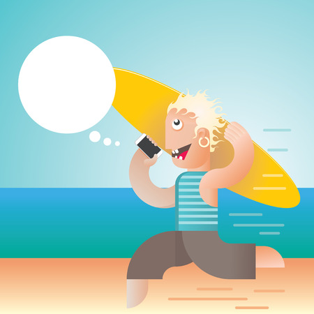 Blonde guy running on the beach holding his surfboard and talking on smartphone