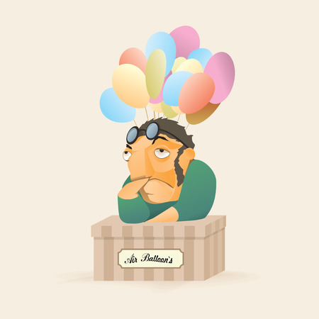 Sad man cartoon character. Air balloon seller. Illustration