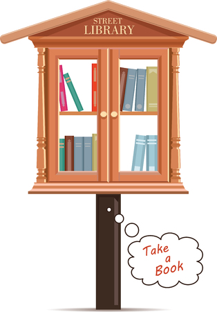 Street library. Vintage book cabinet isolated on white. Vector illustration