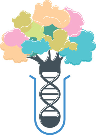 Test-tube plant symbol. DNA research. Genetic engineering. Bio-chemistry and biotechnology science concept. New methods of creating and improving plant with desired properties. Future of agriculture. DNA spiral color tree emblem isolated on white. Vector