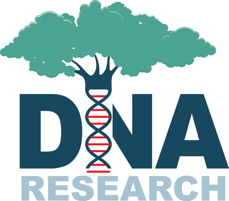 DNA research. Genetic engineering. New methods of creating and improving plant with desired properties. Bio-chemistry and biotechnology science concept.  DNA spiral green tree emblem isolated on white. Vector illustration Illustration