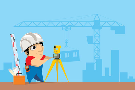 geodesy: Civil engineer working with tachymeter. Geodetic works at construction site. Construction of a new urban area. Background with crane and building under construction. Vector illustration