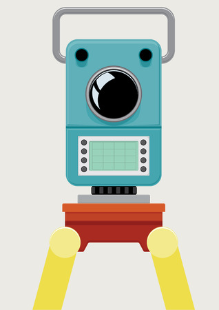 Tachymeter. Precision optical device. Geodetic instrument. Topographic, surveying and construction work. Camera. Isolated object. Vector illustration Illusztráció