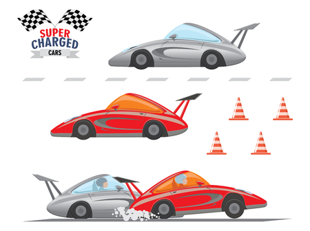 Set of Cars competition isolated on white. Street racers, cartoon style. Sports Car racing emblem and road cones. Vector illustration
