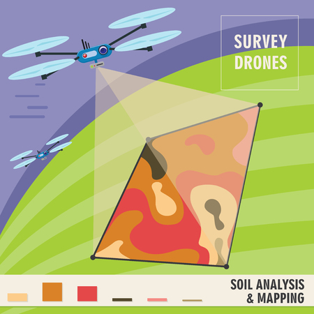 precision: Survey drone analyzes the composition of the soil, and monitoring of plants growth. Precision Agriculture technology. Vector illustration EPS10
