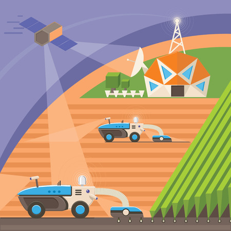 precision: Agribots machines working in the field using GPS signal from satellite and network connection. Farmer uses Precision Agriculture technologies to improve productivity and reduce crop losses. Vector Illustration