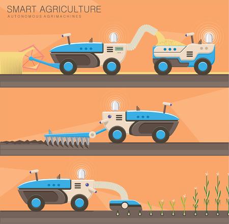 Agribots, machines agricoles autonomes. Technologies modernes de culture et de récolte des plantes. Tracteurs sur le terrain, labourer et semer. Agriculture intelligente et concept d'agriculture de précision. Vecteur
