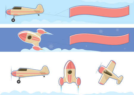 Propeller airplane with banner. Toy Rocketship and airplanes isolated on white. Flat style vector illustration