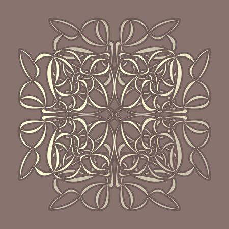 Symmetrical golden floral ornament on brown background, vintage style. Elegant pattern to use in fabrics, invitations, backgrounds, and more. Vector illustration