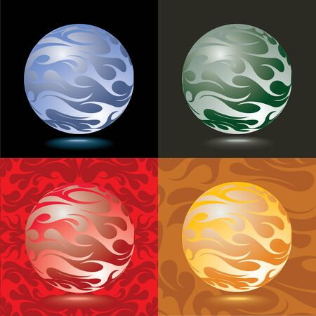 Set of glass balls different colors and backgrounds, realistic style. Crystal Meditation Ball Globe or fantasy planet model with curly pattern, elements for decoration. Vector illustration