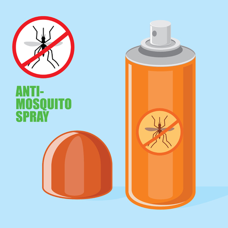 Mosquito spray orange color, stop mosquito sign, isolated vector objects. Flat style Illustration