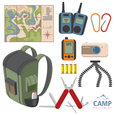 Set of Touristic equipment things isolated on white. Backpack luggage. Flat style vector