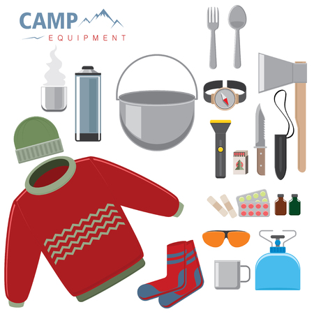 surviving: Set of nessessary personal things for surviving in the mountains, isolated objects on white. Vector illustration.