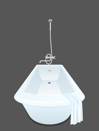 White bathtub isolated. Douche, faucet in the bathroom. Vector illustration