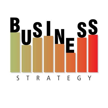 Business strategy, chart bar isolated on white. Vector illustration flat style Illusztráció