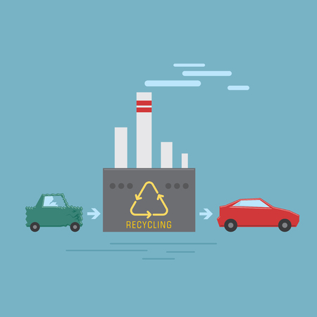 Smart disposal of old and damaged cars. Car recycling plant concept. Vector illustration flat style