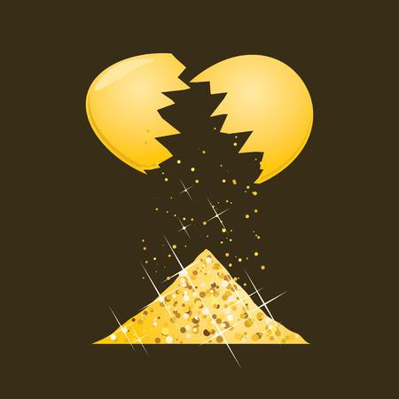 Golden egg shell with handful of gold isolated on dark background. Magic easter egg. Vector illustration