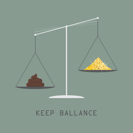 Weighing scale, libra. Motivation to maintain a balance between bad and good things. Piece of shit vs Gold Treasure, positive and negative illustration concept. Flat style vector Illusztráció
