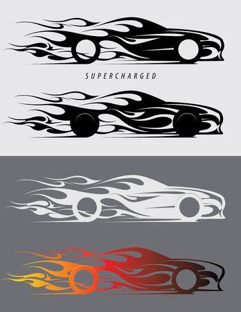 Sports car logo design with fire flames. Textile prints, vinyl stickers and decals for auto. Vector illustration Illusztráció