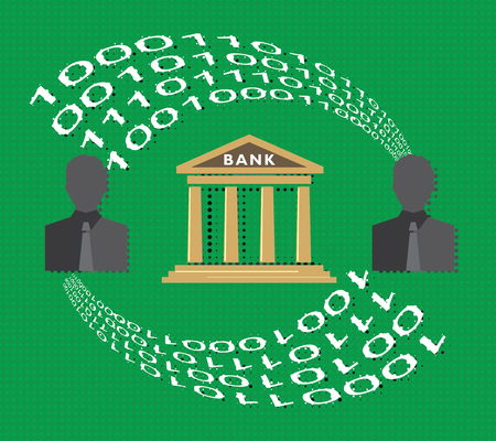 Internet banking and digital economy concept, transactions between two clients of bank.