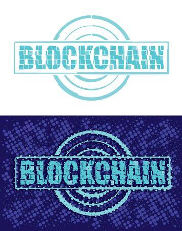Block chain text emblem on white illustration with mosaic effect. Illusztráció