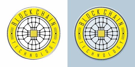 Blockchain technology emblem icon Illusztráció