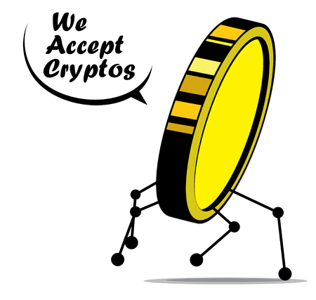 Pay with a cryptocurrency, crypto coin or token abstract design.