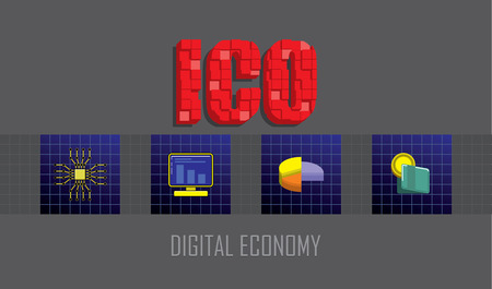 ICO text emblem with 3d mosaic effect.