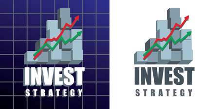 Invest strategy emblem with text, graphs and 3d chart bars.